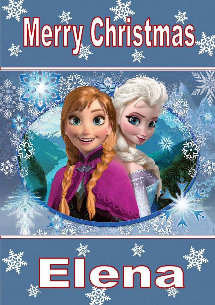 personalised anna  u0026 elsa frozen christmas card